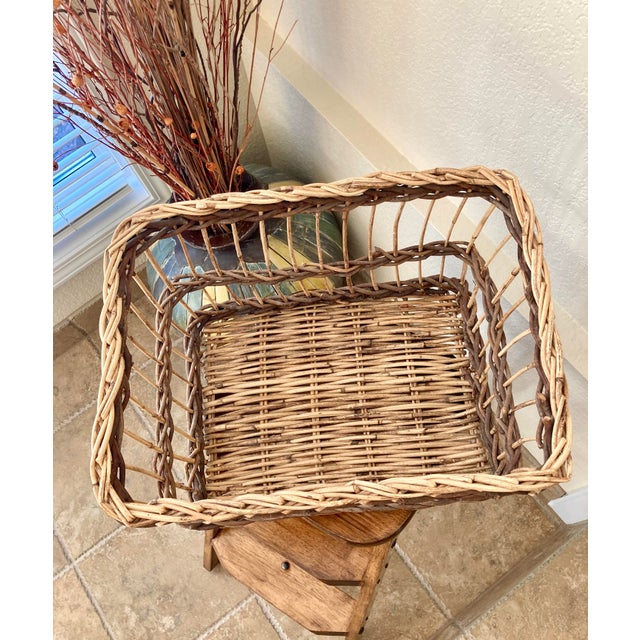Crisscross Open Weave Handwoven Rattan & Willow Basket by Three Hands - Circa 1990 For Sale - Image 9 of 13
