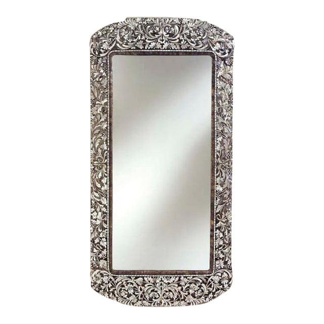 Transitional long handcut glass rectangular mirror chairish for Long glass mirror