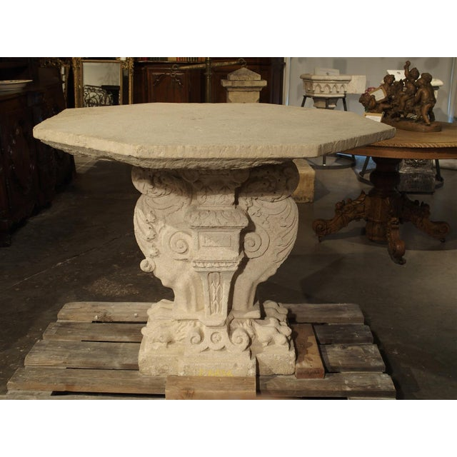 This absolutely remarkable and rare stone table from Provence is dated 1570, and from the appearance of the hand-carved...