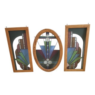 Vintage Contemporary Stain Glass by Moore-Set of 3 For Sale