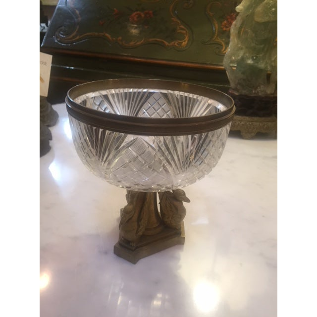 1900's French Crystal Bowl With Bonze Bird Base For Sale - Image 9 of 9