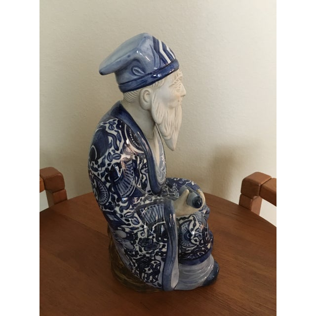 Ceramic Blue & White Chinese Emperor For Sale - Image 5 of 7