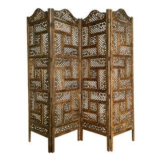 Carved Teakwood Shoji Screen Room Divider For Sale