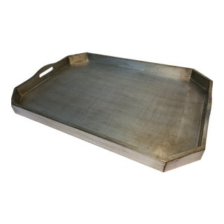 Italian Silver Leafed Wooden Tray For Sale