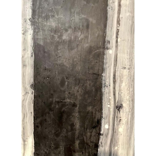 "Black Lynn Basa Encaustic Black and White Stripe Panel ""Camino"", 2018 For Sale - Image 8 of 11"