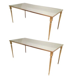 1960's Pair of Jansen Brass Coffee Tables For Sale