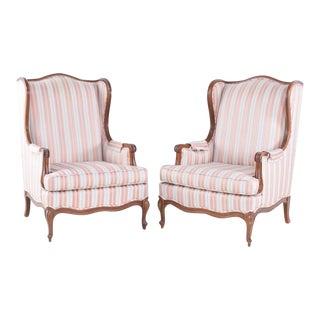 Vintage Louis XV Style Upholstered Wingback Bergères- A Pair For Sale