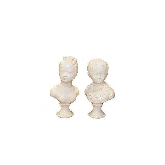 Pair of Vintage White Ceramic Busts - Image 2 of 3