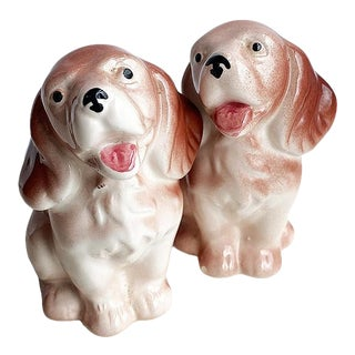 Brown and White Ceramic Dog Salt and Pepper Shakers - a Pair For Sale