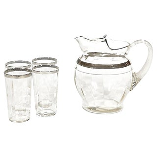 1950s Silver Banded Beverage Set, Set of 5 For Sale
