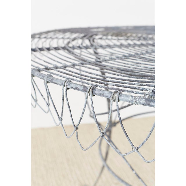 French Wrought Iron and Wire Garden Dining Table For Sale - Image 4 of 13