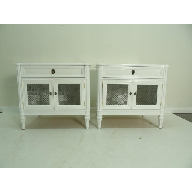 Metal Henredon French Regency Style White Finished Nightstands - a Pair For Sale - Image 7 of 7
