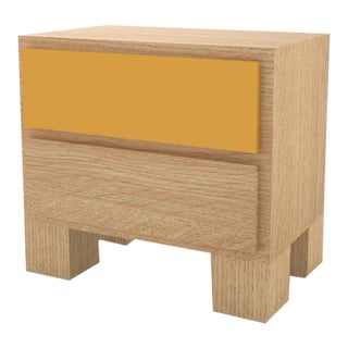 Contemporary 101 Bedside in Oak and Yellow by Orphan Work, 2020 For Sale