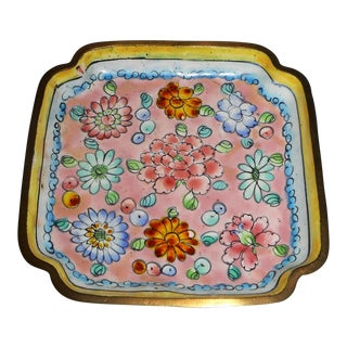 Antique 1920s Chinese Famille Rose Canton Enameled Tray For Sale