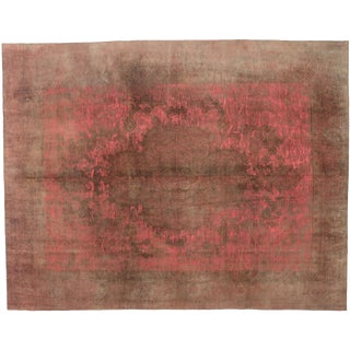 Overdyed Distressed Vintage Turkish Rug With Post-Modern Industrial Style For Sale