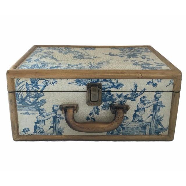 Antique Blue & White Toile Box - Image 1 of 9