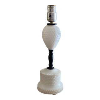Vintage Hobnail Milk Glass Lamp For Sale