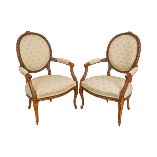 French Louis XV Style Carved Walnut Pair of Fauteuils Arm Chairs For Sale