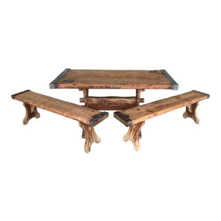 """Restoration Hardware Style Rustic 60"""" Ships Door Dining Table & Benches For Sale"""