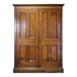 Late 19th Century Two Door Quarter Sawn Oak Cabinet For Sale