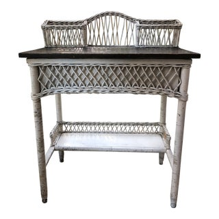 White Wicker Desk For Sale