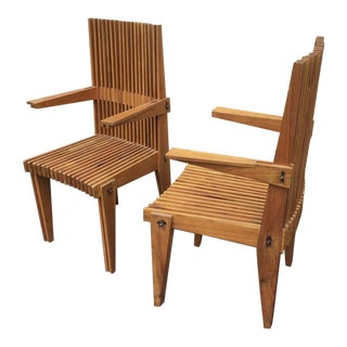 Louis Sognot Pair of Awesome Architectural Arm Chairs For Sale