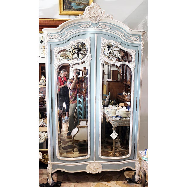 19th Century French Country Painted Armoire For Sale - Image 12 of 13