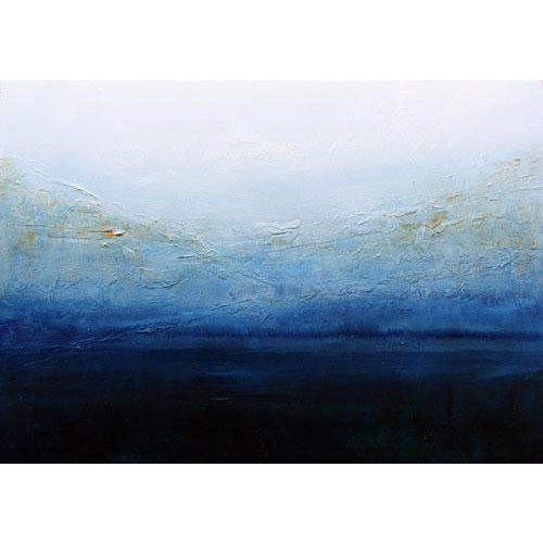 Blue & White Textured Modern Abstract Painting - Image 1 of 6