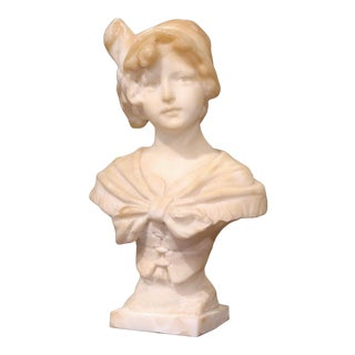 Mid-19th Century French Carved White Marble Bust Sculpture of Young Beauty For Sale