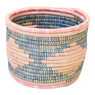 Handwoven Rwandan Sweetgrass Multicolor Coil Planter Basket