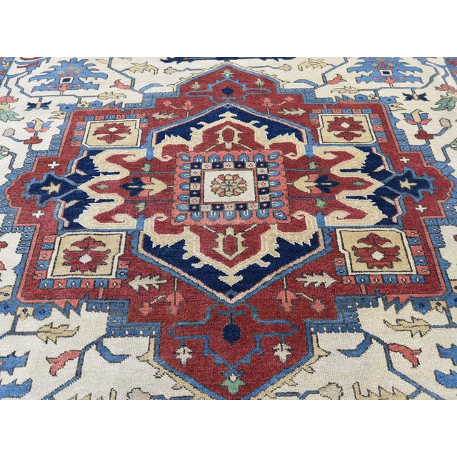 Hand-Knotted Wool Serapi Heriz Tribal Design Rug- 9′ × 11′9″ For Sale - Image 9 of 13
