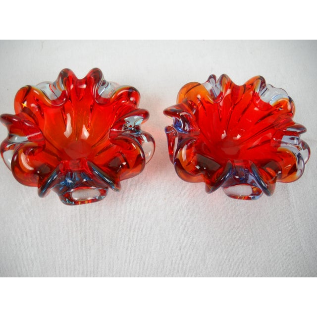 1950s Red Folded-Edge Murano Bowls - A Pair For Sale - Image 5 of 9