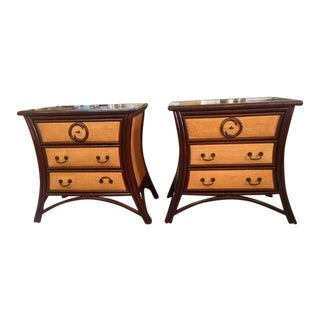 Vintage Coconut Shell McGuire Nightstands - A Pair