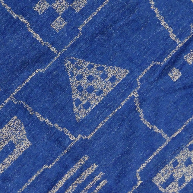 Early 21st Century New Contemporary Blue Moroccan Area Rug With Modern Bauhaus Style - 12'4 X 15'3 For Sale - Image 5 of 10