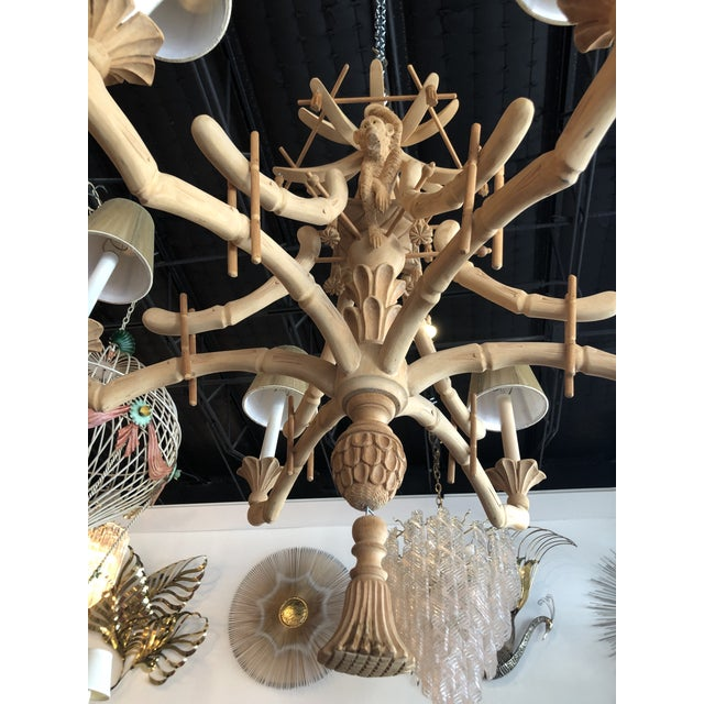 Wood Vintage Chinoiserie Tropical Palm Beach Carved Wood Pagoda Monkey Tassels Bells Chandelier For Sale - Image 7 of 11