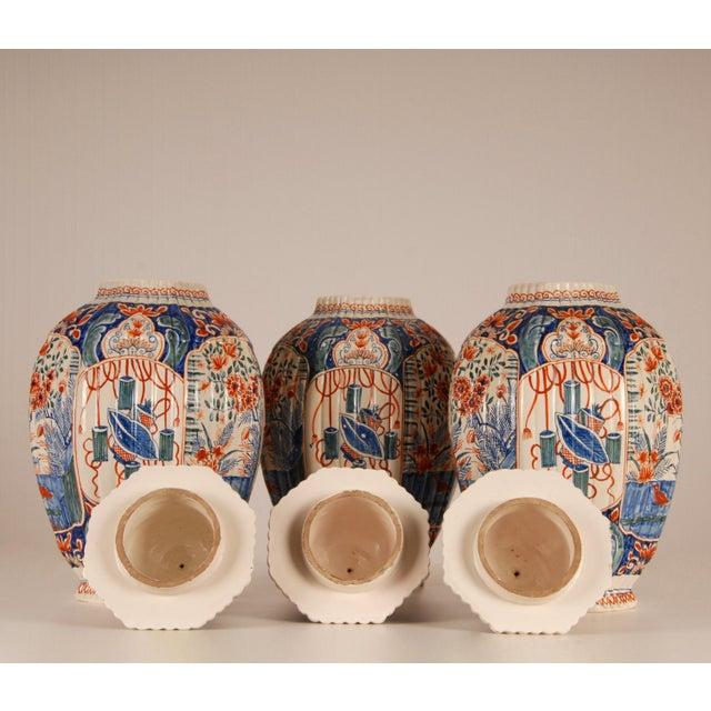 Royal Blue Antique French Delftware Pottery Tinglazed Vases & Covers - Set of 3 For Sale - Image 8 of 12