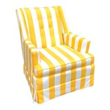 Image of Yellow & White Cabana-Stripe Tufted Armchair For Sale