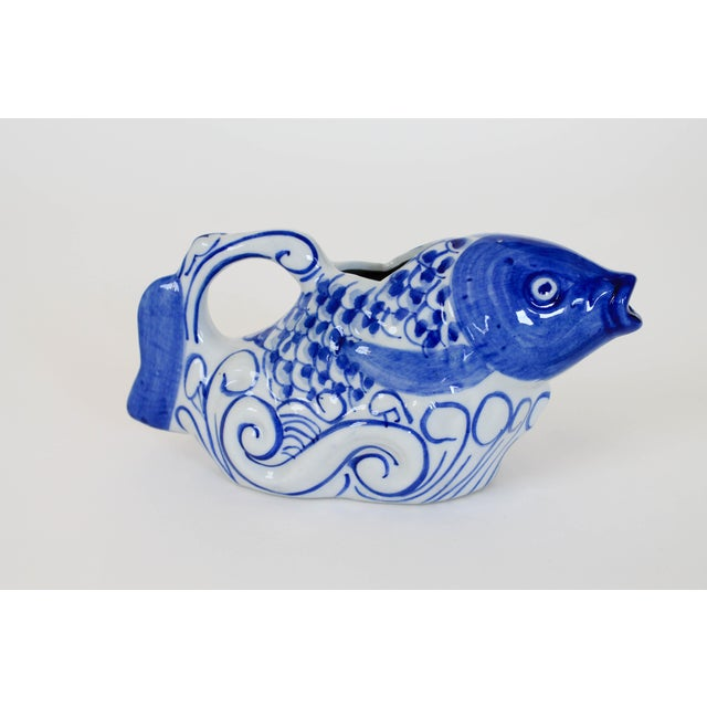 Ceramic Chinese Blue and White Fish Form Ceramic Teapot For Sale - Image 7 of 7