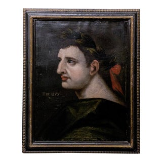 18th Century Grand Tour Style Italian School Portrait Painting of Emperor Tiberius, Framed For Sale