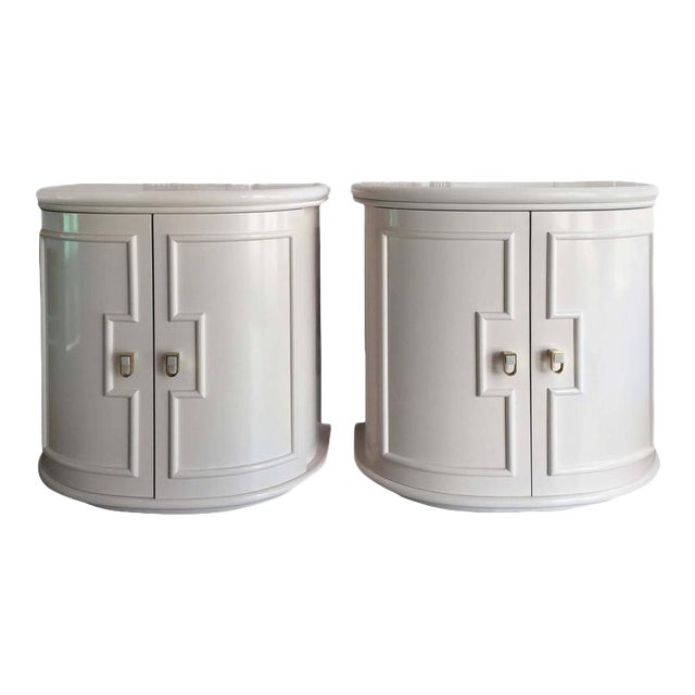 Vintage Pink Lacquered Chests Nightstand Demilune Tables - a Pair - Image 1 of 12