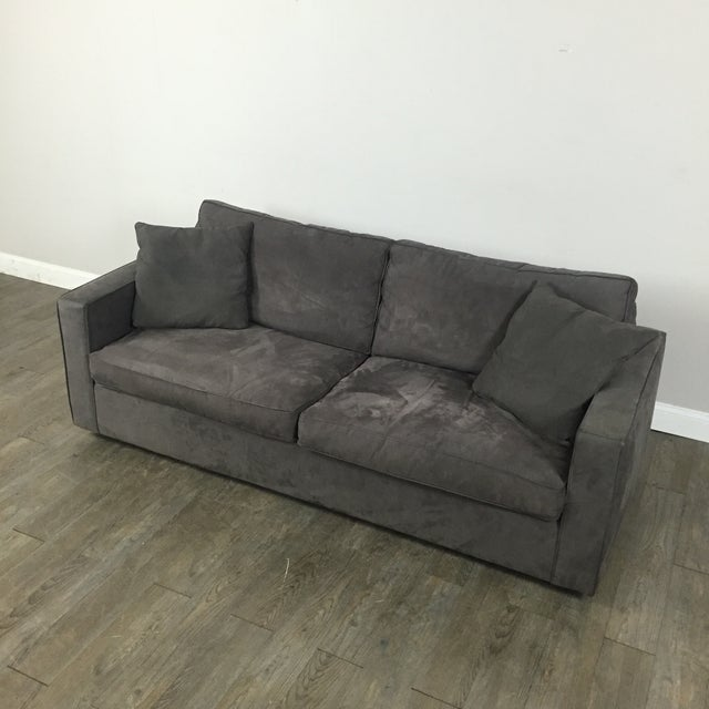 Room & Board Charcoal Suede Sofa - Image 3 of 11