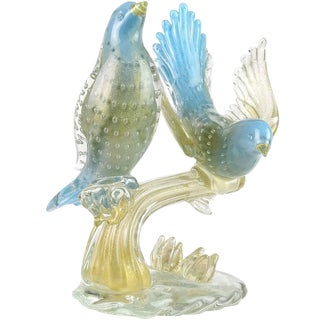 Murano 1950s Blue Gold Flecks Italian Art Glass Birds on Branch Sculpture For Sale