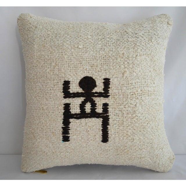 "Inca Motifs Handmade Kilim Rug Hemp Pillow Cover Throw - 16"" X 16"" For Sale In Raleigh - Image 6 of 6"