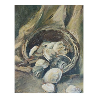 Still Life With Oysters, Oil on Board Painting For Sale