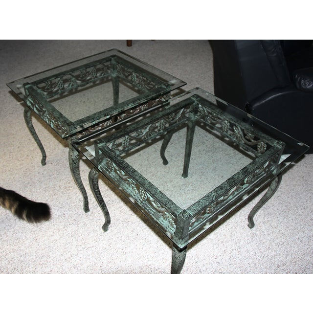 Iron and Glass Side Tables - A Pair - Image 3 of 4