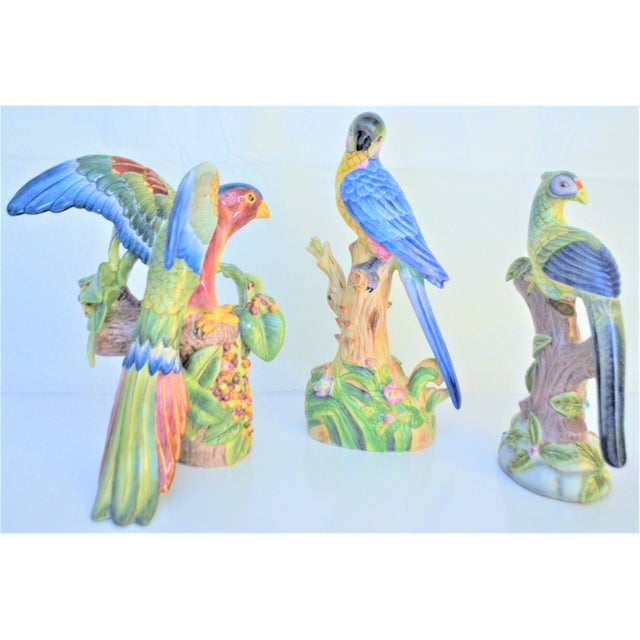 1980 Chinese Export Exotic Bird Figurines - Set of 3 For Sale - Image 9 of 11