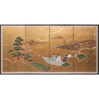 1920s the Tale of Genji, Japanese Gold-Leaf Byobu Screen For Sale
