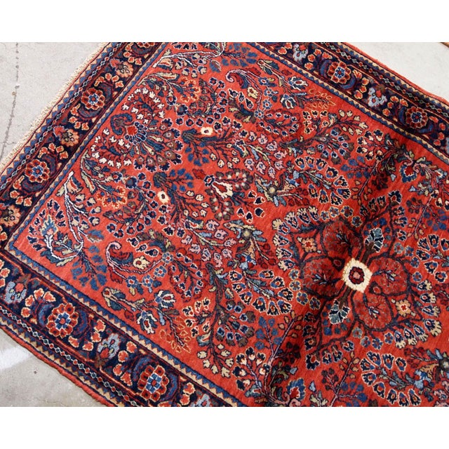 Red 1920s, Handmade Antique Persian Sarouk Rug 3.2' X 5.2' For Sale - Image 8 of 10