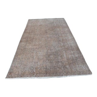 "Turkish Handmade Brown Wool Vintage Rug-5'4'x9'5"" For Sale"