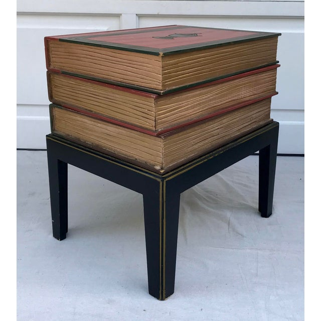 Figurative Vintage Figurative Faux Stack of Books Side Table For Sale - Image 3 of 6